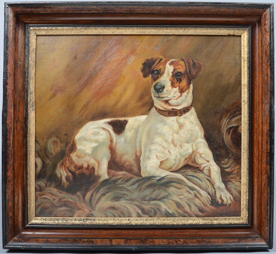 11: Oil on Canvas Portrait of a Fox Terrier, unsigned,