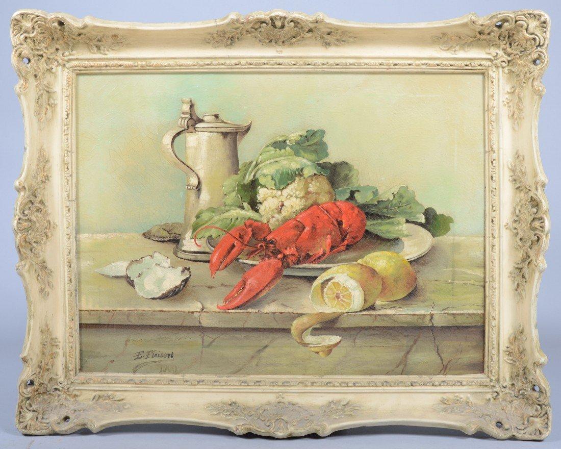"12: Oil on Canvas Still Life, signed: ""E. Fleinert, 190"
