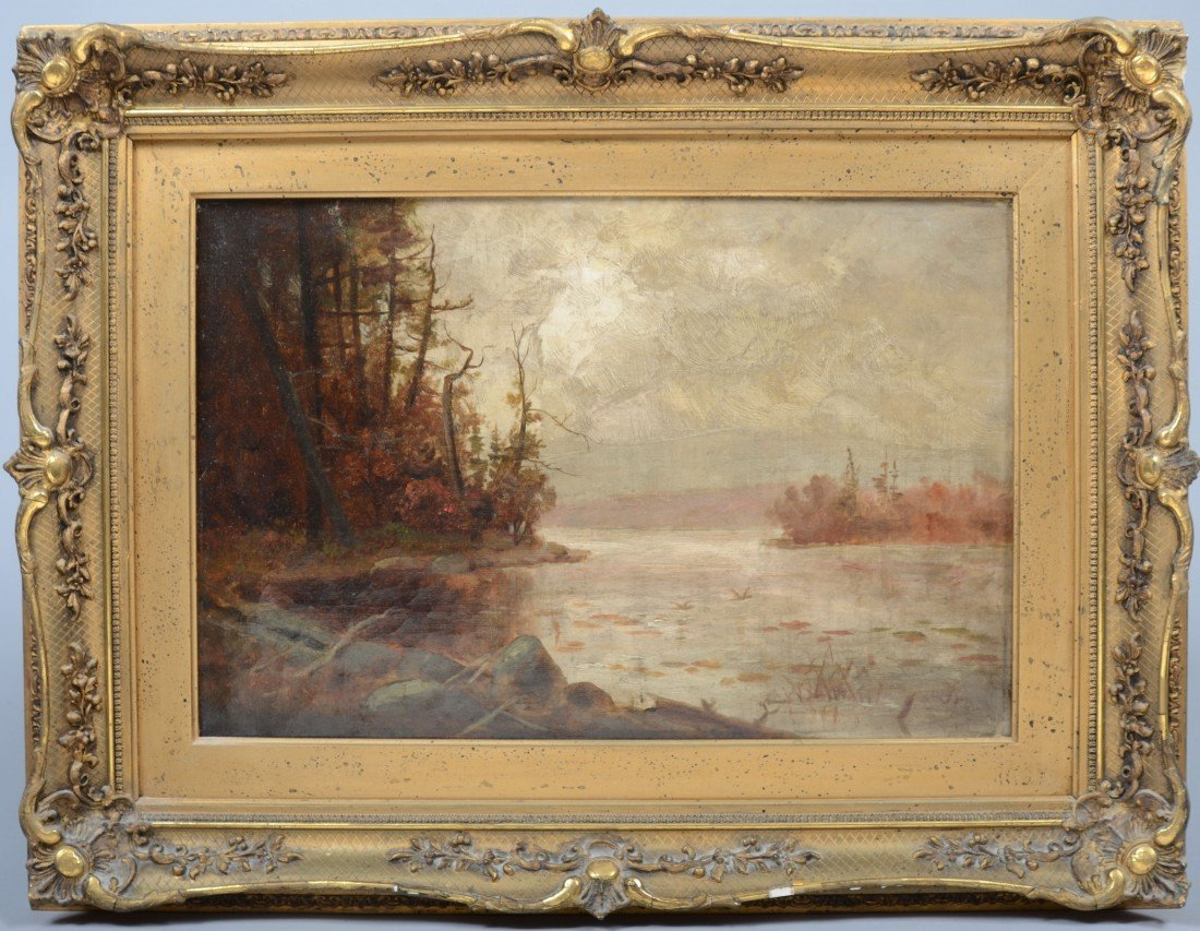 14: Oil on Canvas Fall River Landscape, unsigned, in or