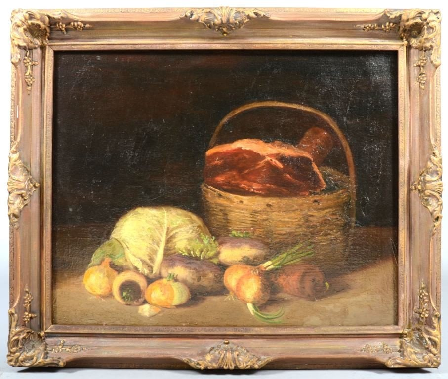 15: Oil on Canvas of Still Life with Cabbage, Onions an