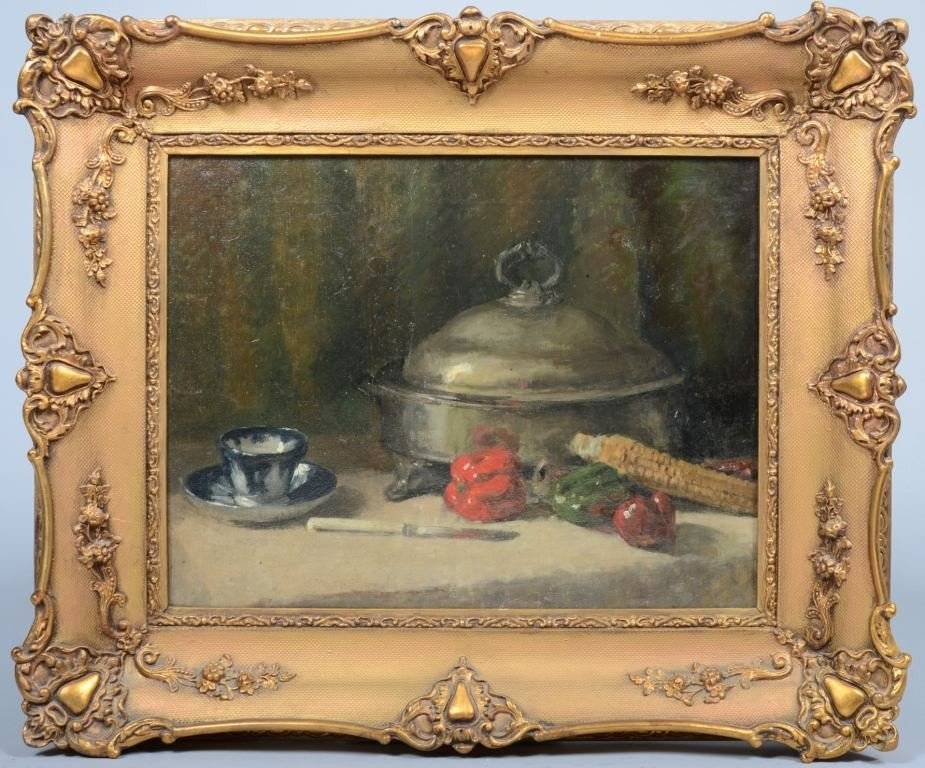 16: Oil on Canvas of Still Life with Pewter Soup Tureen