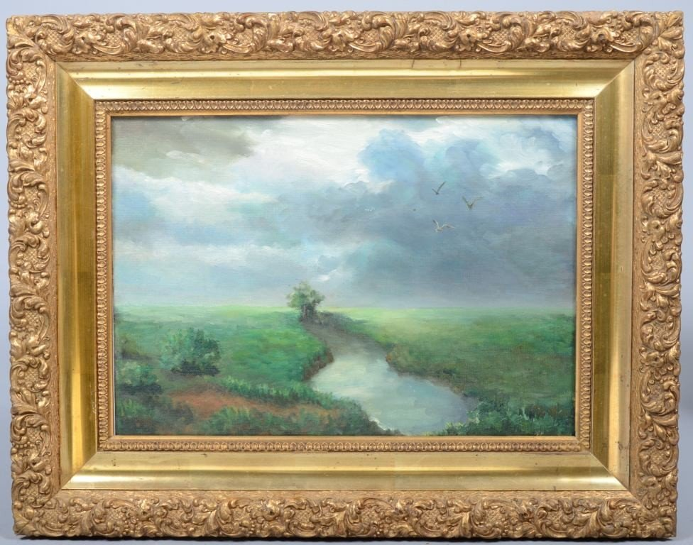 17: Oil on Artist's Board of Landscape, unsigned, in or
