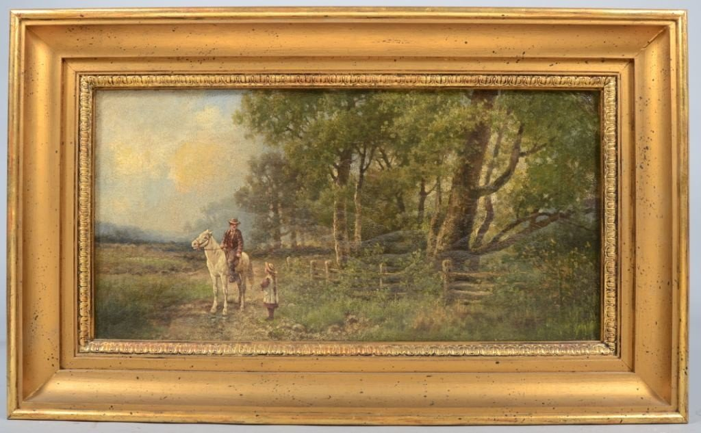 18: Oil on Canvas of Landscape with Man on Horse and Gi
