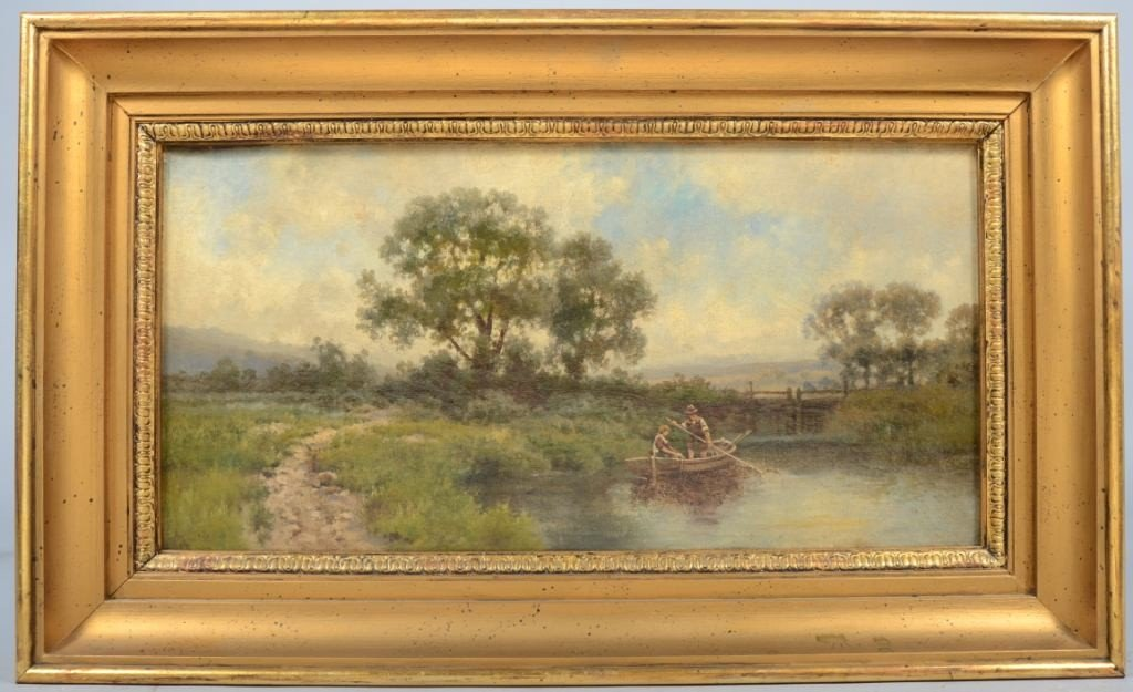 19: Oil on Canvas of Landscape with Man and Woman in a
