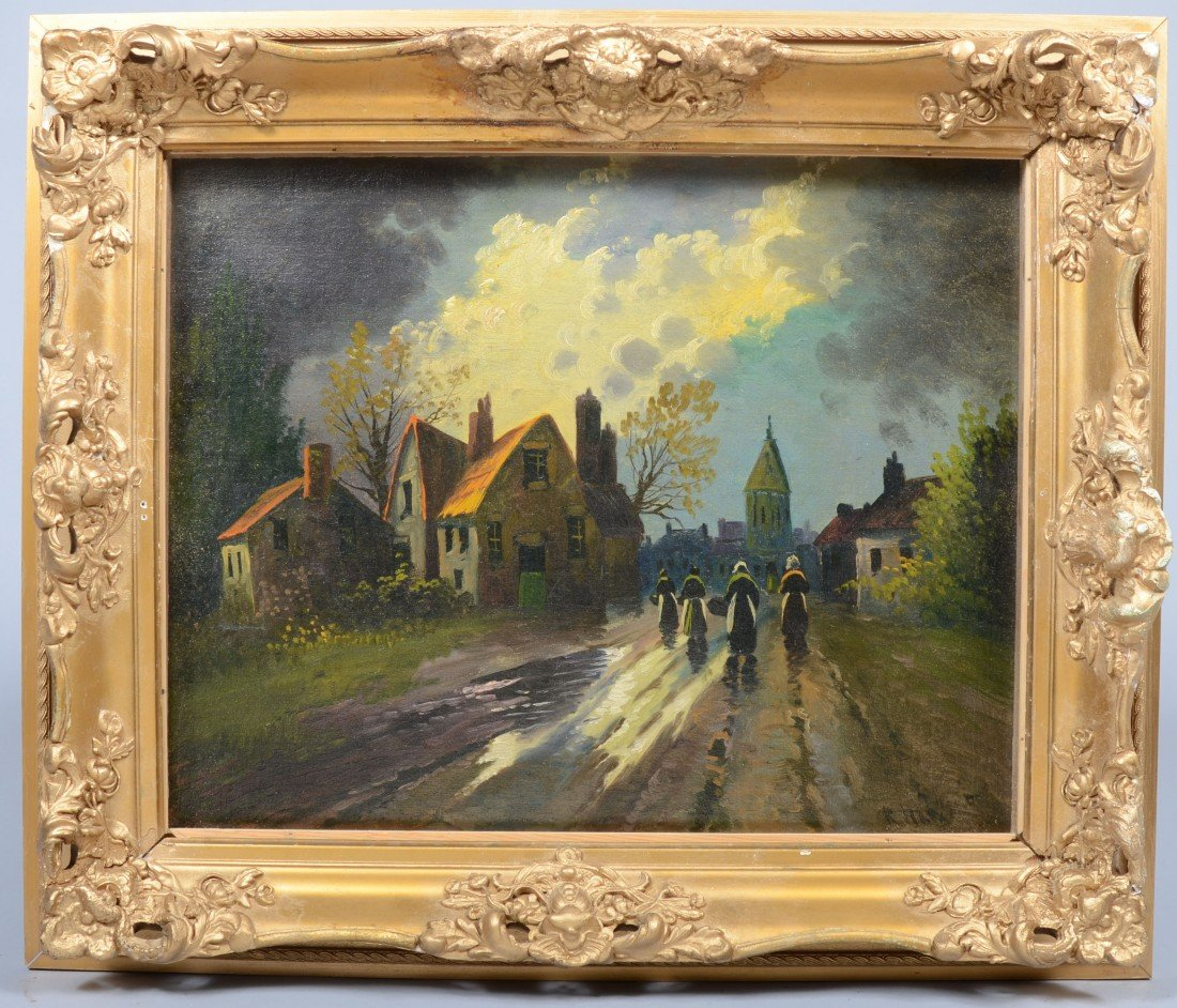 20: Oil on Canvas of Village Scene with Four Women, sig