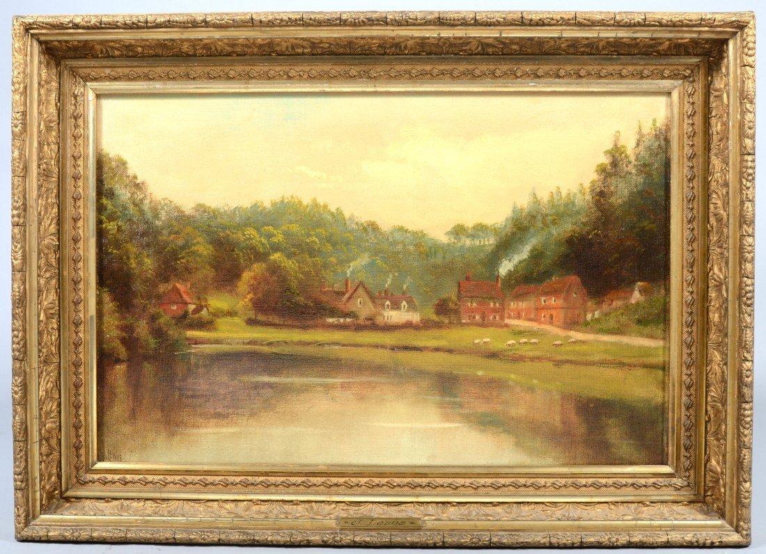 """21: Oil on Canvas of Village Landscape, signed: """"J. Lew"""