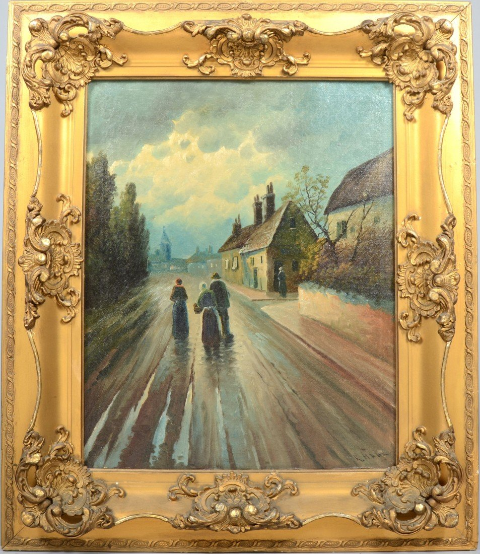 22: Oil on Canvas of Village Scene with three People, s