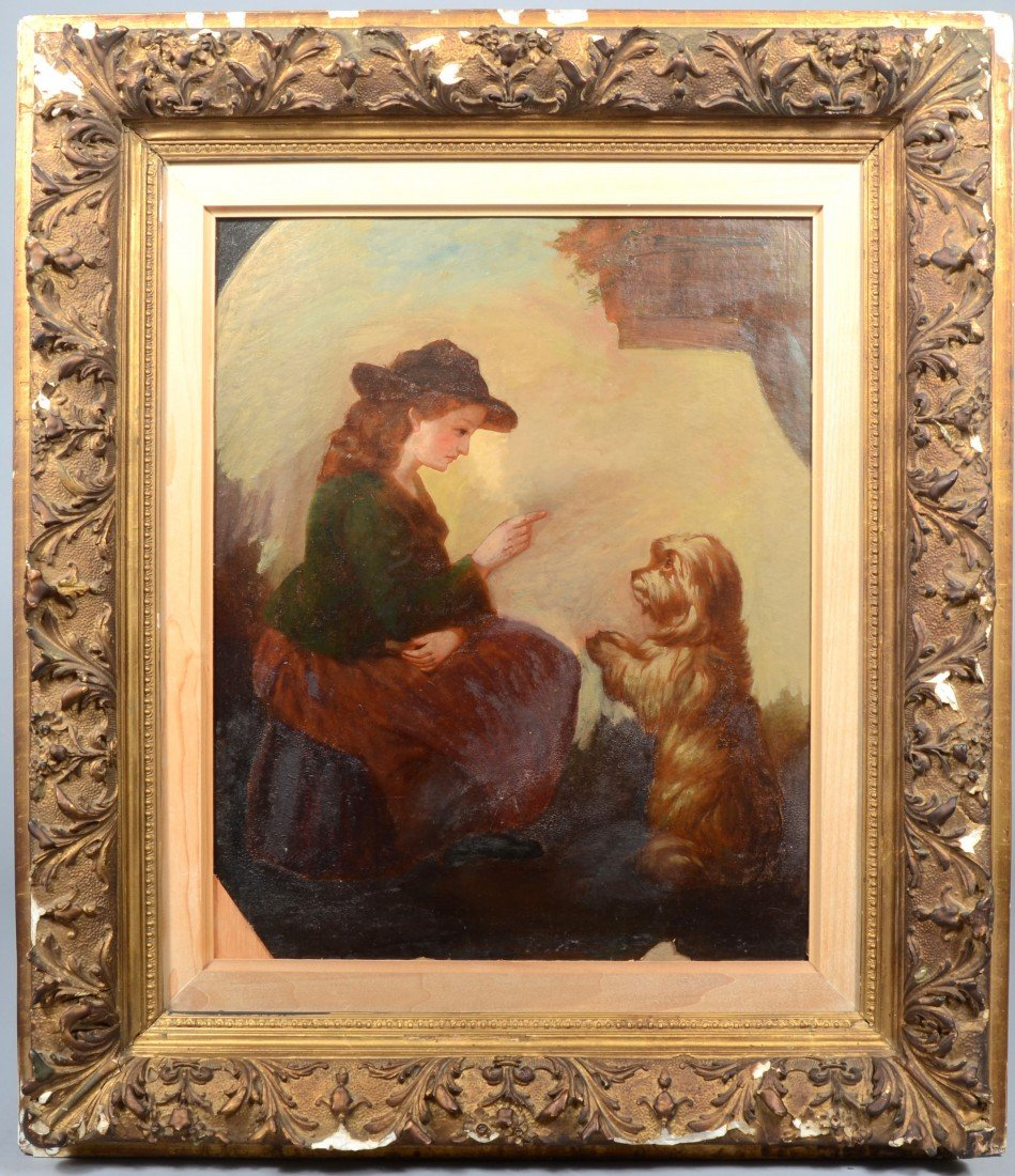 23: Oil on Paper on Composition Board of Woman with Dog