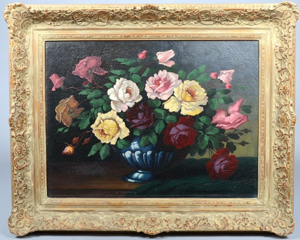 24: Oil on Canvas Still Life of a Bowl of Roses, unsign