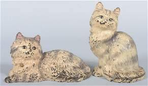 400 Two Hubley Painted Cast Iron Cat Doorstops A sitt