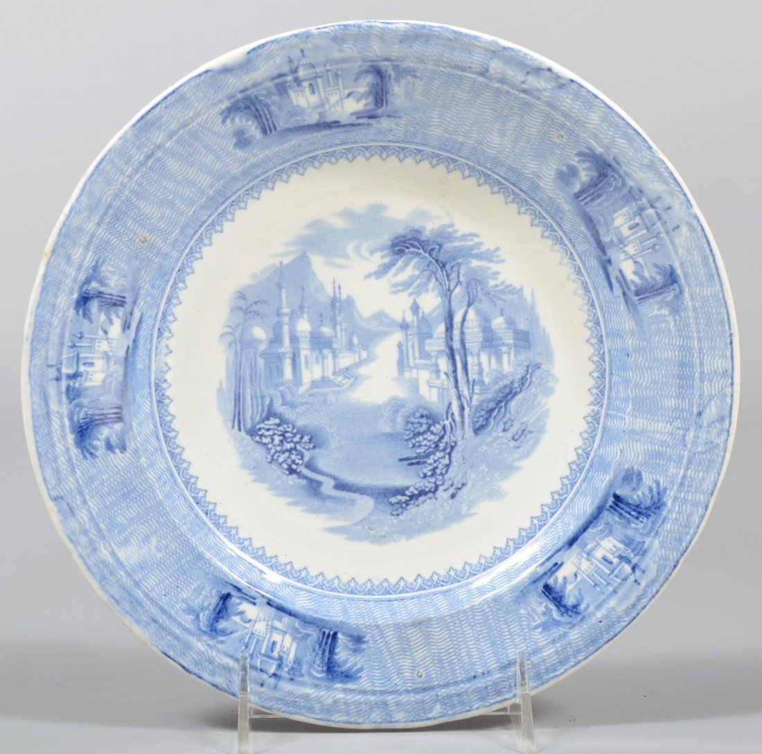 538: Blue Staffordshire Ironstone Plate, Asian palaces