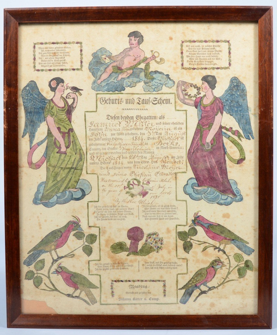 574: 19th cen. Framed Hand-colored Printed Tauf-Schein