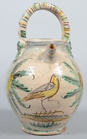 740: Polychrome Earthenware Open Jug with applied 'bask