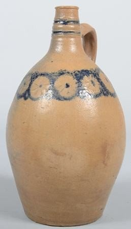 741: Ovoid Bottle Neck Stoneware Jug, with incised and