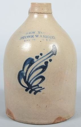 744: Cobalt Decorated Stoneware Jug with applied loop h