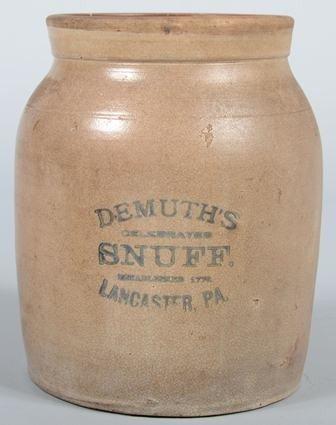 "745: Cobalt Labeled Stoneware Jar. Labeled:"" DeMuth's C"