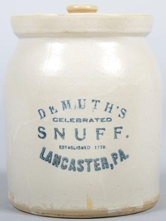"748: Cobalt Labeled Stoneware Jar. Labeled:"" DeMuth's C"
