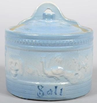 749: Stoneware Hanging Salt Box with light blue colorat