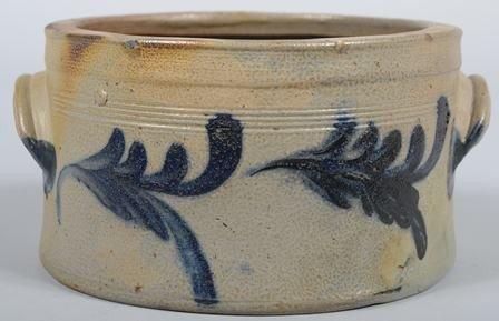 752: Cobalt Decorated Stoneware 'Cake' Crock. Two appli