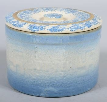 753: Stoneware Butter Crock with light blue coloring an