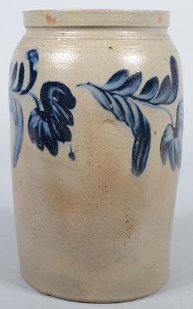 "755: Cobalt Decorated Stoneware Crock. Unmarked. 14""h."