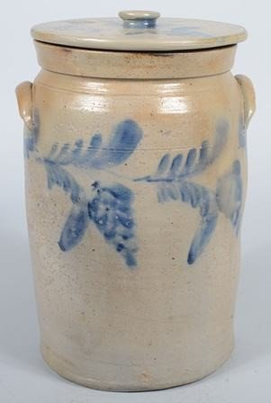 757: Large Cobalt Decorated Stoneware Crock with Lid. M - 2