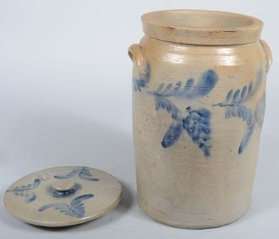 757: Large Cobalt Decorated Stoneware Crock with Lid. M - 3