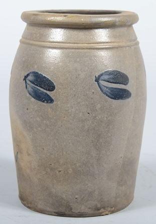 """758: Ovoid Stoneware Crock with Cobalt 'Deer tracks"""" De"""