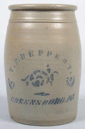 """759: Cobalt Labeled Stoneware Crock. Marked: """"T. F. Rep"""