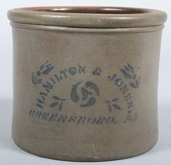 "760: Cobalt Labeled Stoneware Crock. Marked: ""Hamilton"
