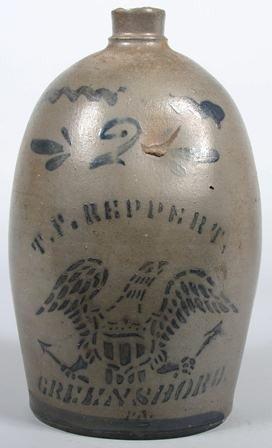 761: Ovoid Shaped Cobalt Decorated Stoneware Jug. Marke