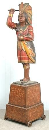 1061: Carved and Painted Indian Tobacconist Figure attr