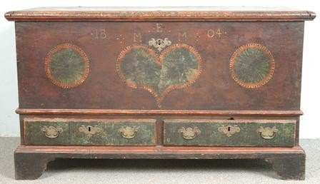 1062: Polychrome Paint Decorated Pennsylvania Dower Che