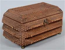 1154 Tramp Art Trinket Box Three pyramid levels of ch