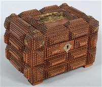1166 Chip Carved Tramp Art style Hinged Lid Box Sixty