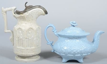 Two Various Pieces of Parian China; pewter mounte