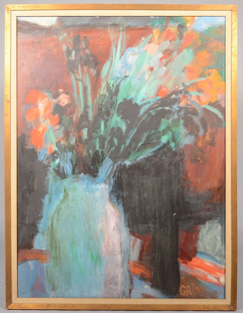 1: Abstract Floral, Oil on Canvas. Vase with multicolor