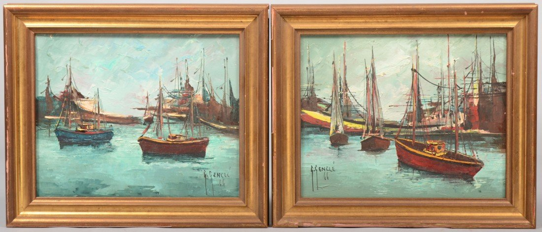 5: Two Seacoast Port Scenes, oil on canvas. Both show a