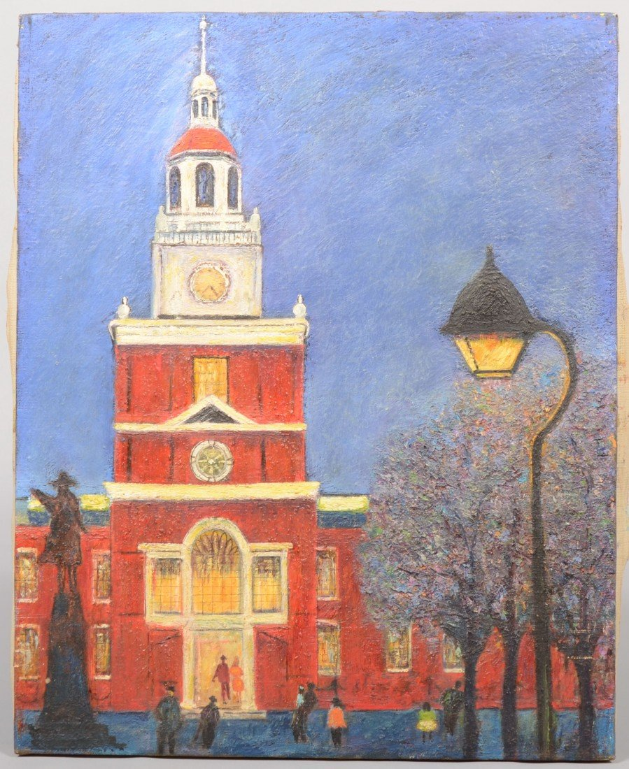 9: View of Independence Hall at Twilight, textured oil