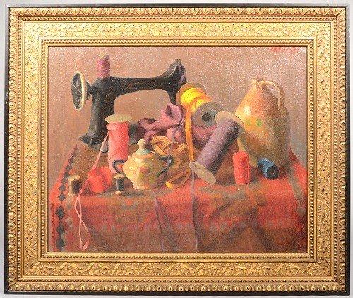 10: Seamstress' Still Life, large framed oil on canvas.