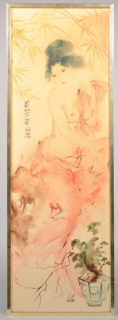 11: Tall Oriental Female Nude with Bamboo background, a
