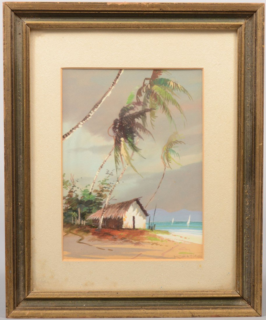 13: Tropical Thatched Roof Hut by the Ocean with palms