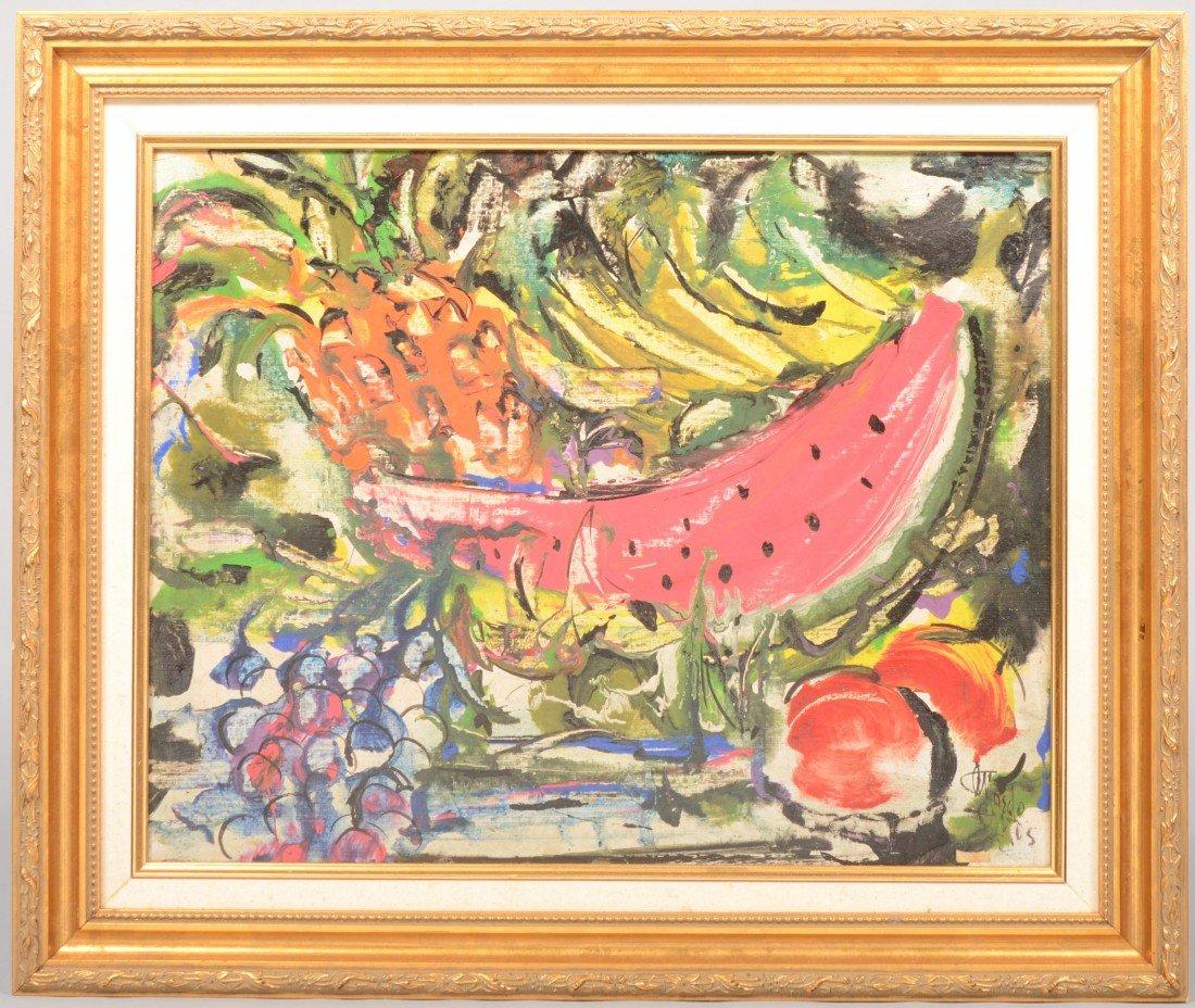 14: Impressionist Still Life of Fruit, acrylic on mason