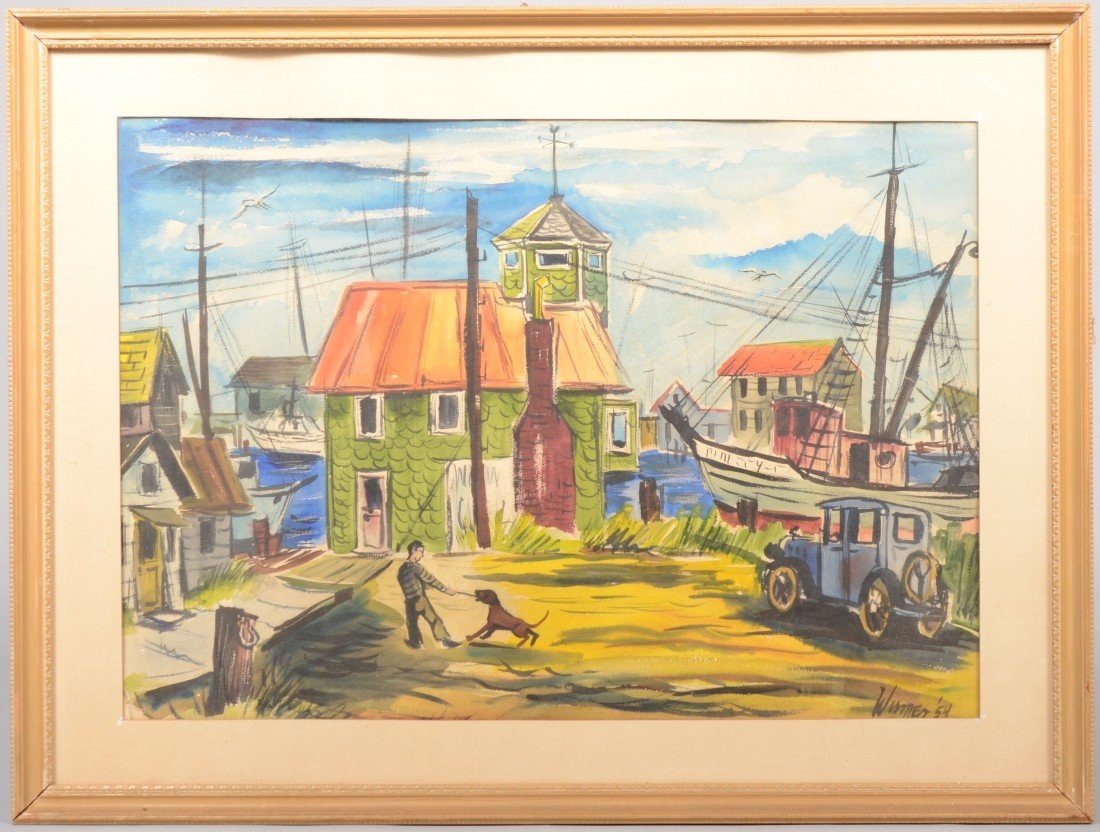 15: New England Harbour Scene, watercolor on paper. Gre