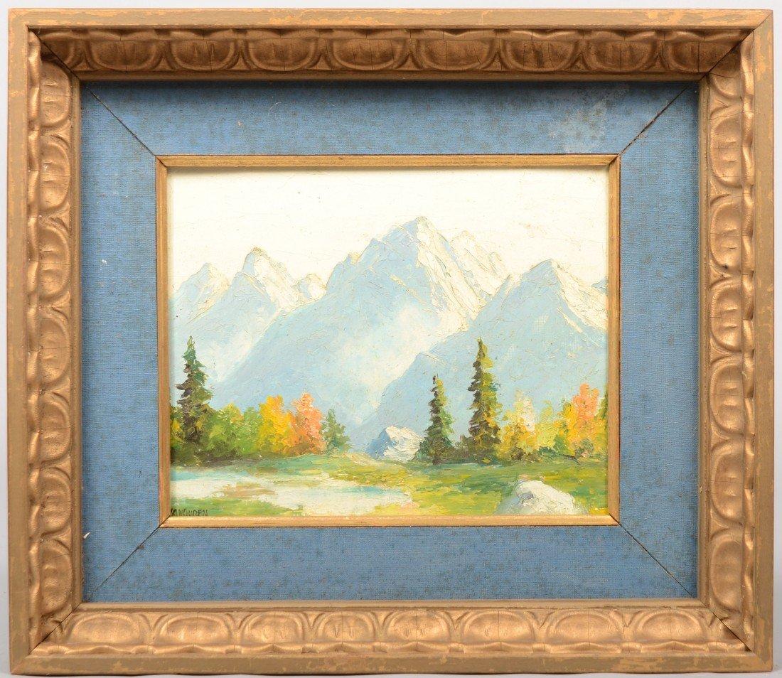 16: Mountainous Landscape, oil on artist's board. Signe