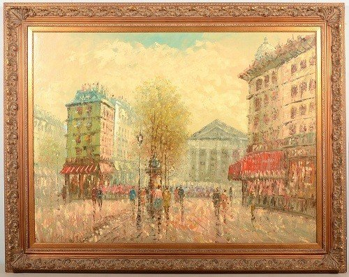 17: Large of a Parisian Street Scene, oil on canvas. Si