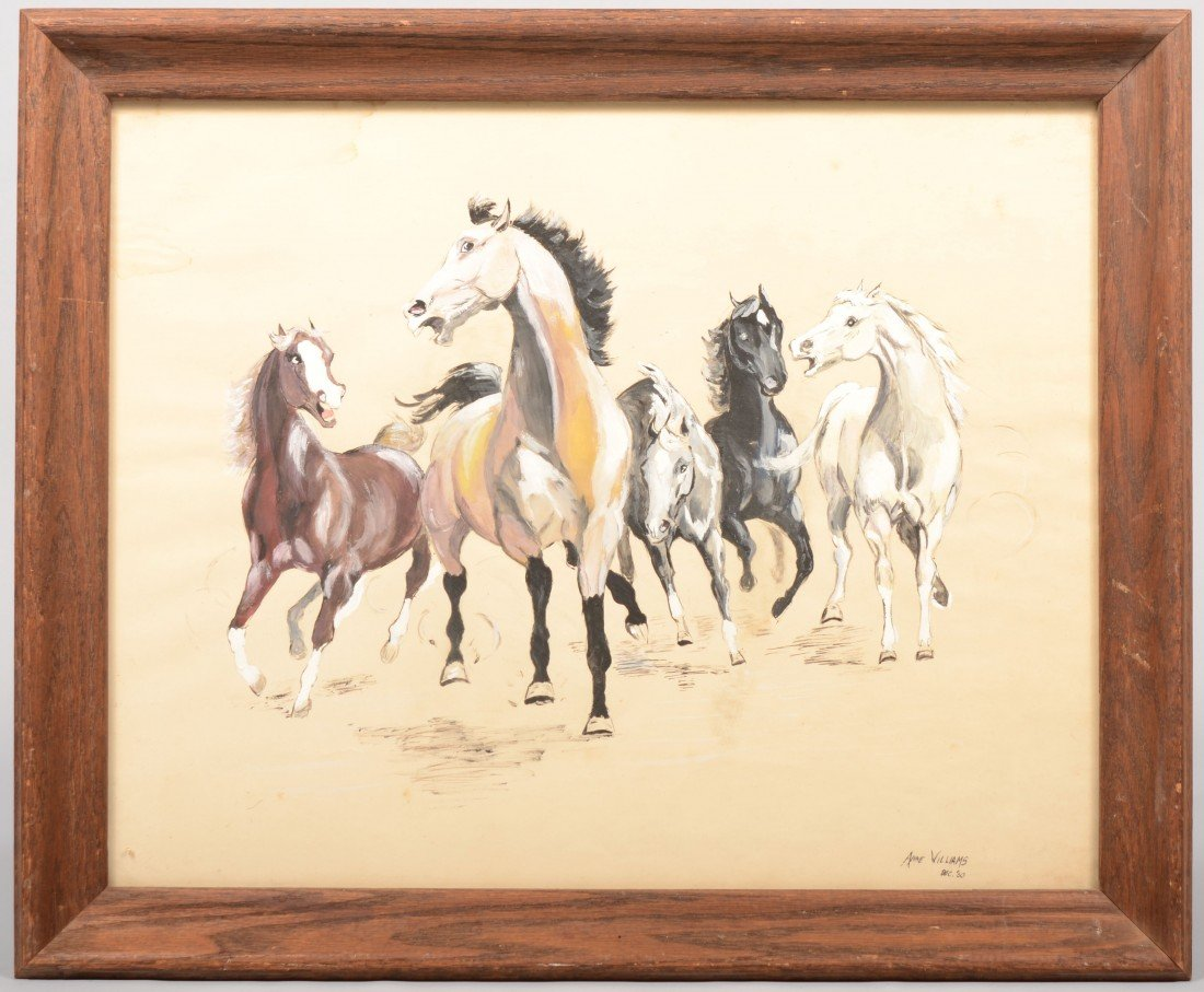 18: Five Galloping Wild Horses, watercolor and gouache