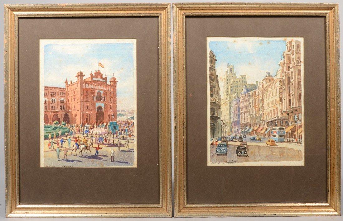 20: Two Views of Madrid Spain City Scenes, watercolors