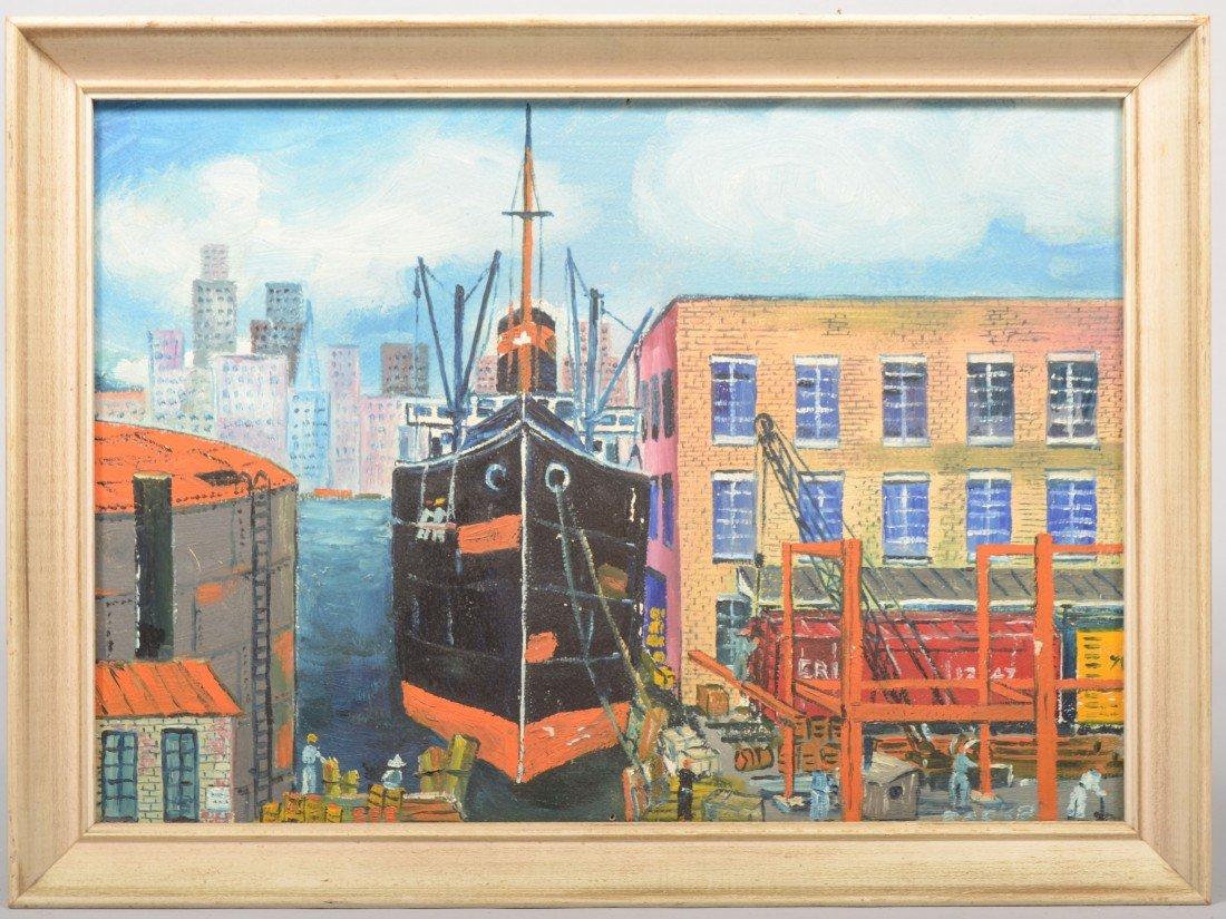 21: Cargo Ship at Dockside, oil on artist board. Signed