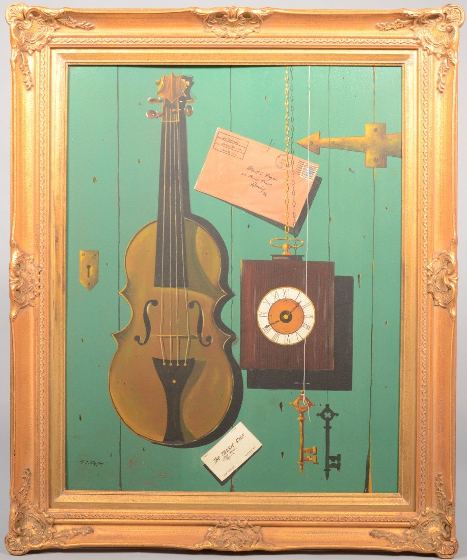 22: Trompe l'oeil of a Violin, Letter, Clock, Card and